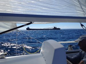 Freighter on the lake 1.8 nm behind us going into Grey's Reef. He wins.